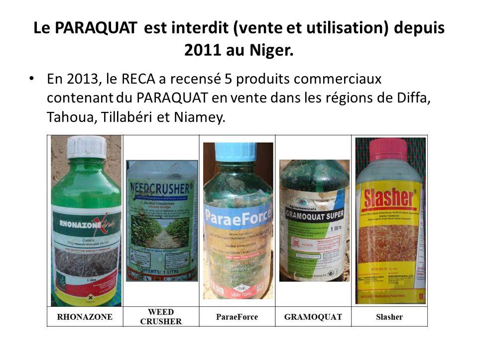 Le PARAQUAT est interdit (vente et utilisation) depuis 2011 au Niger.