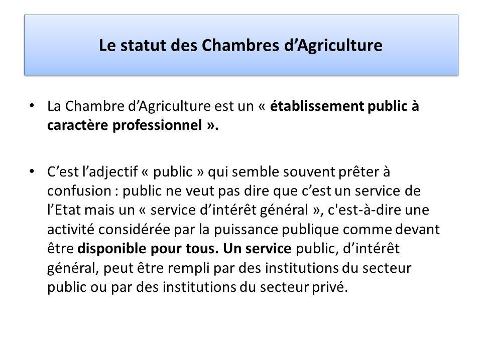 Le statut des Chambres d'Agriculture