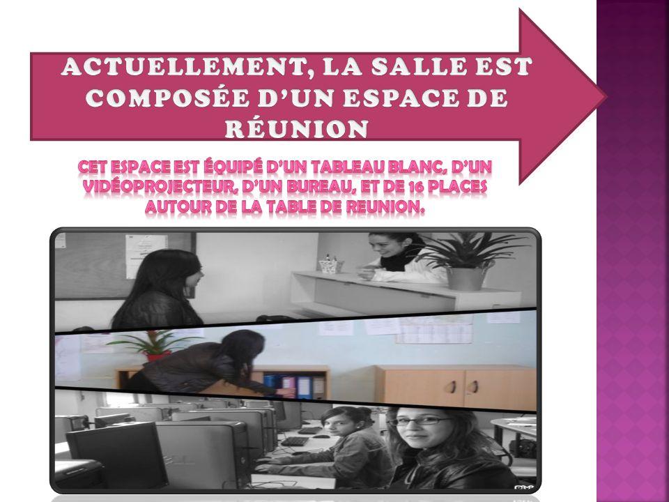 ACTUELLEMENT, LA SALLE EST COMPOSÉE D'UN ESPACE DE RÉUNION