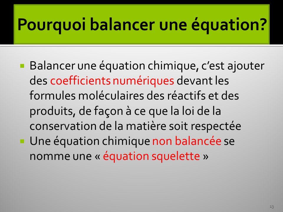 Pourquoi balancer une équation