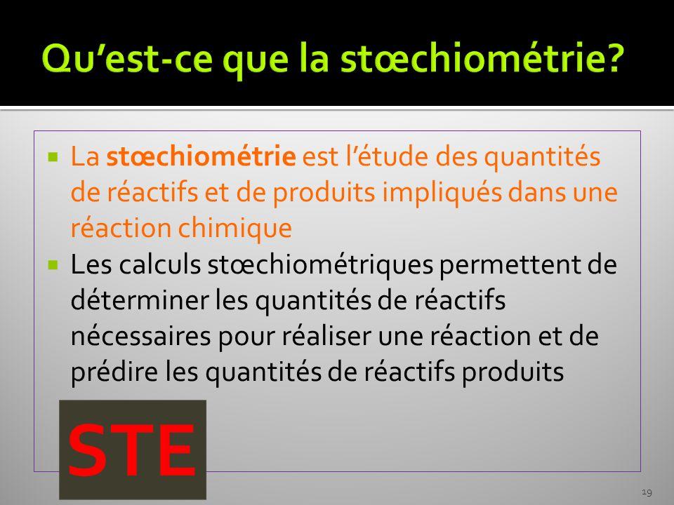 Qu'est-ce que la stœchiométrie