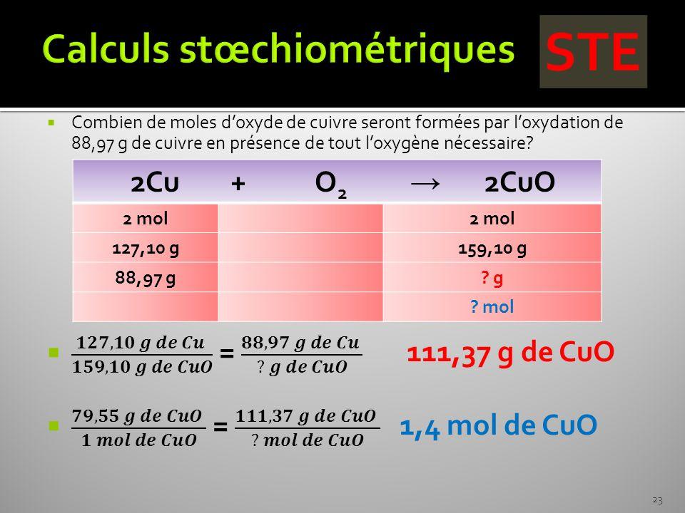 Calculs stœchiométriques