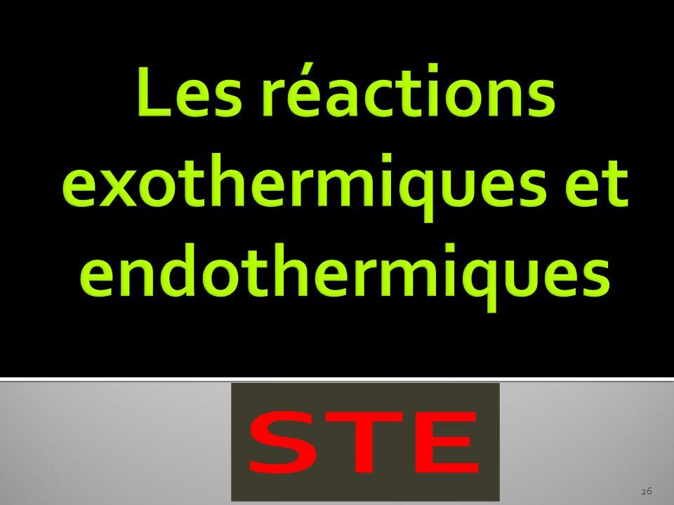 Les réactions exothermiques et endothermiques