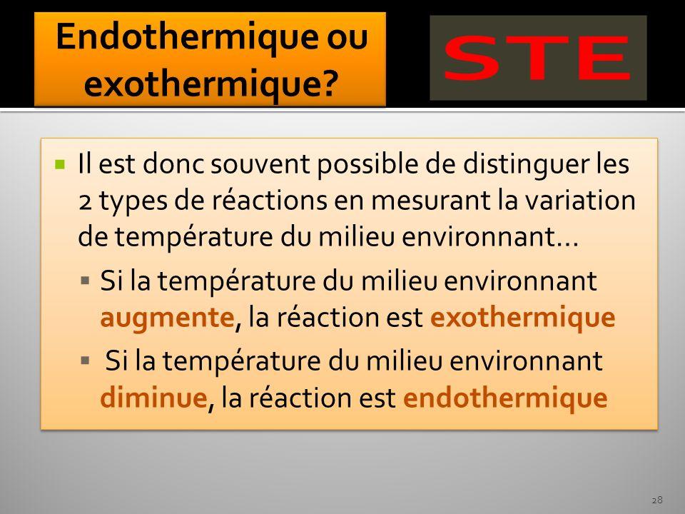 Endothermique ou exothermique