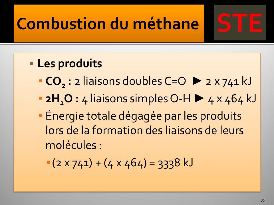 Combustion du méthane Les produits