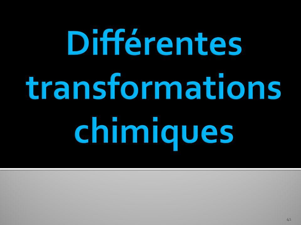 Différentes transformations chimiques