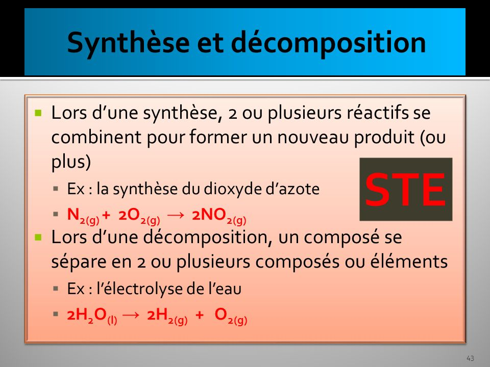 Synthèse et décomposition