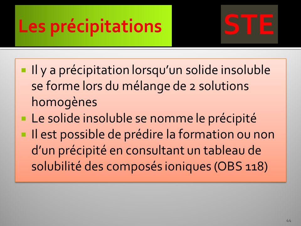 Les précipitations Il y a précipitation lorsqu'un solide insoluble se forme lors du mélange de 2 solutions homogènes.