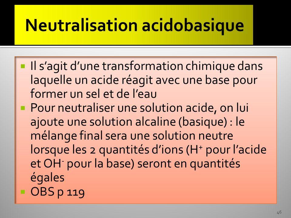 Neutralisation acidobasique