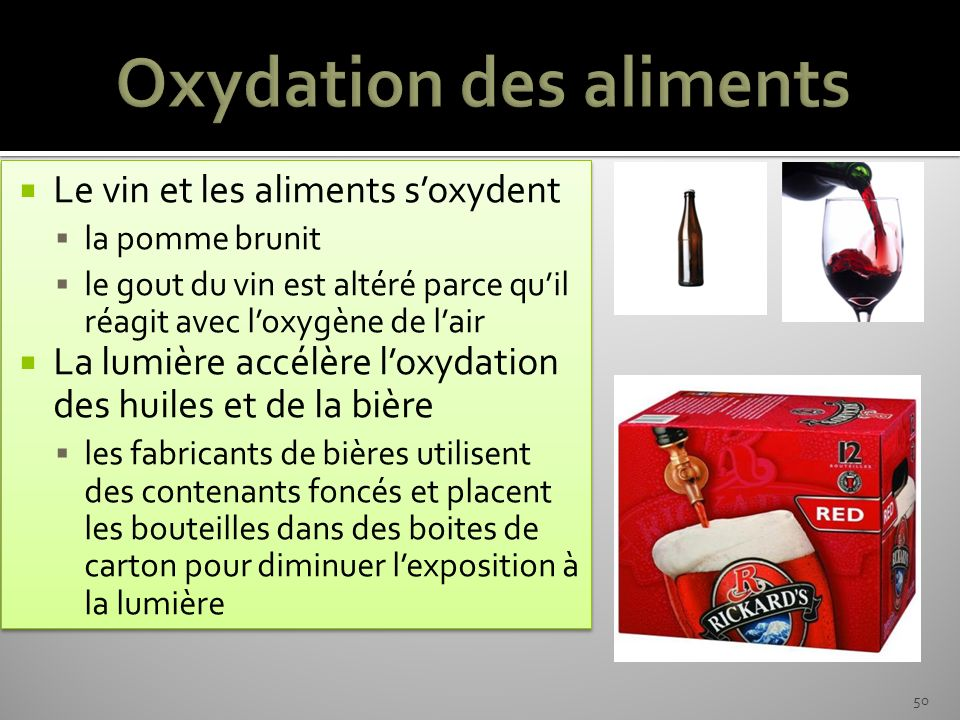 Oxydation des aliments