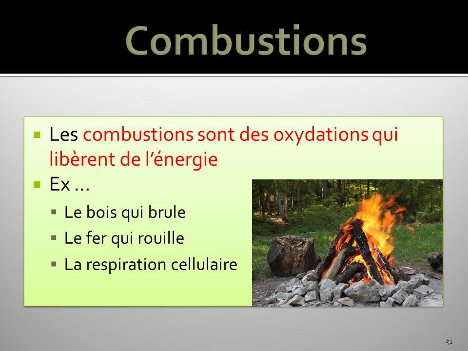 Combustions Les combustions sont des oxydations qui libèrent de l'énergie. Ex … Le bois qui brule.
