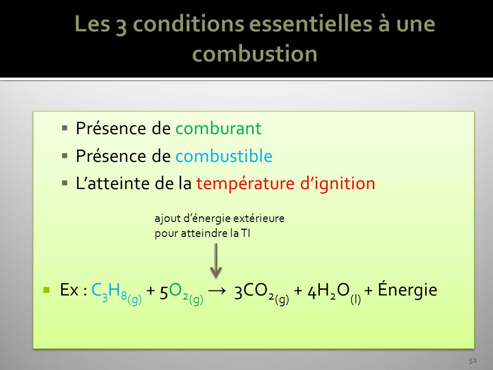 Les 3 conditions essentielles à une combustion