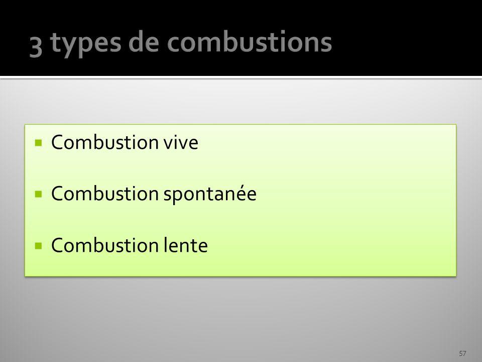 3 types de combustions Combustion vive Combustion spontanée