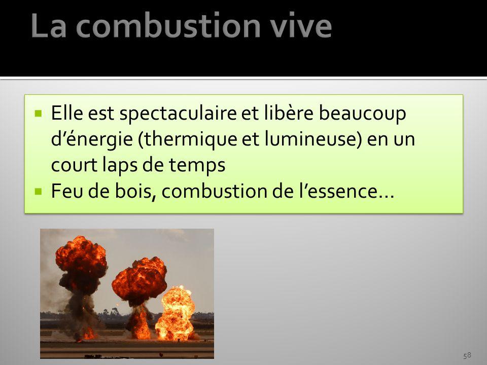 La combustion vive Elle est spectaculaire et libère beaucoup d'énergie (thermique et lumineuse) en un court laps de temps.