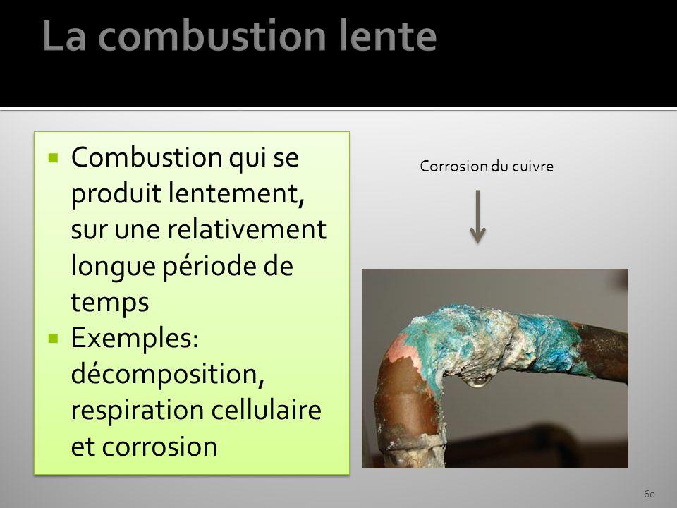 La combustion lente Combustion qui se produit lentement, sur une relativement longue période de temps.
