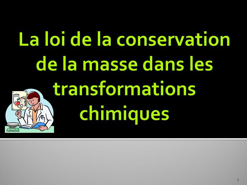 La loi de la conservation de la masse dans les transformations chimiques