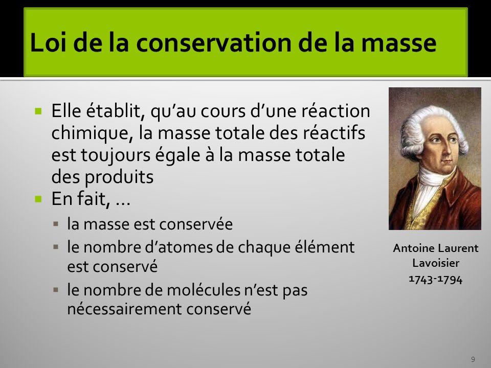 Loi de la conservation de la masse