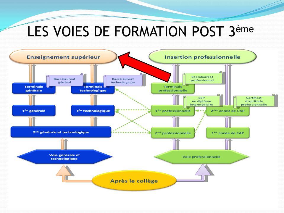 LES VOIES DE FORMATION POST 3ème
