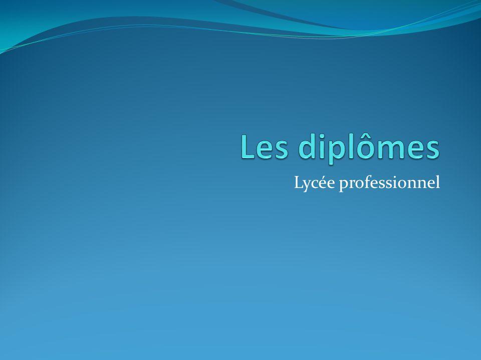 Les diplômes Lycée professionnel