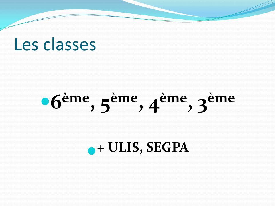 6ème, 5ème, 4ème, 3ème + ULIS, SEGPA
