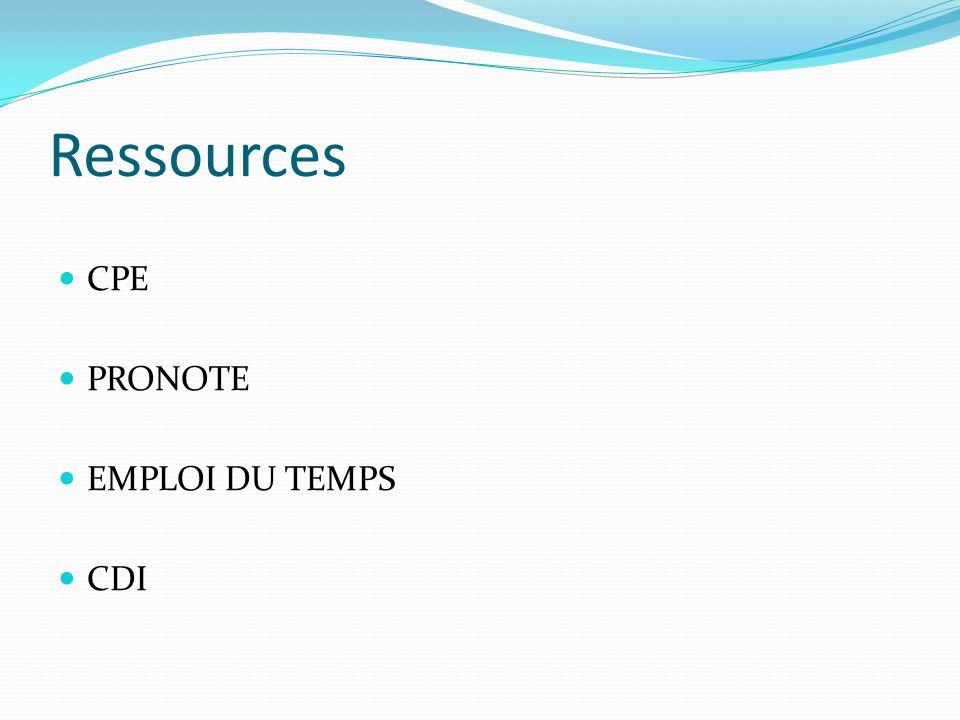Ressources CPE PRONOTE EMPLOI DU TEMPS CDI