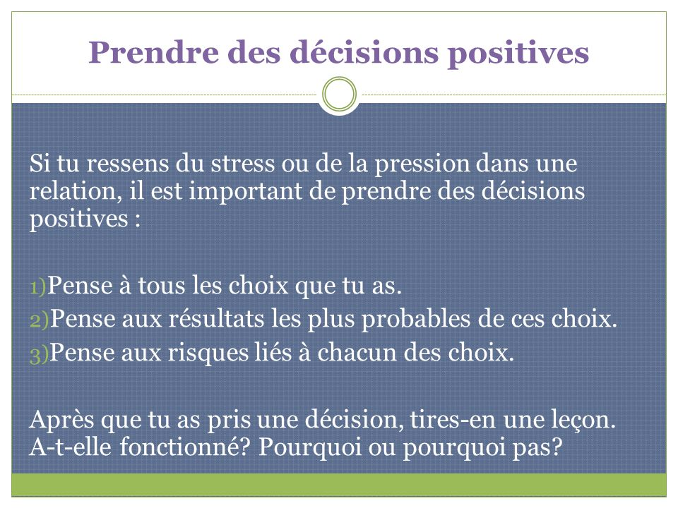 Prendre des décisions positives