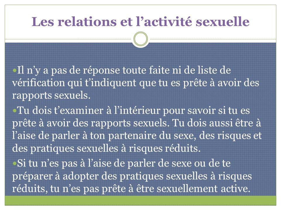 Les relations et l'activité sexuelle