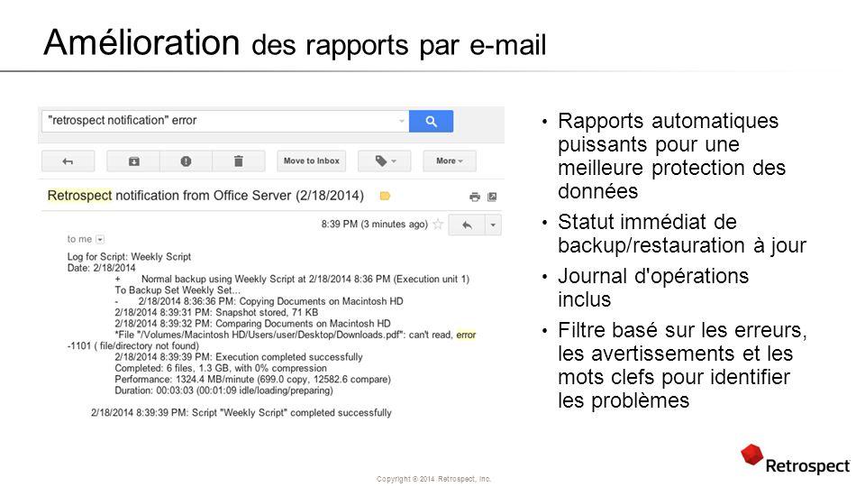 Amélioration des rapports par e-mail