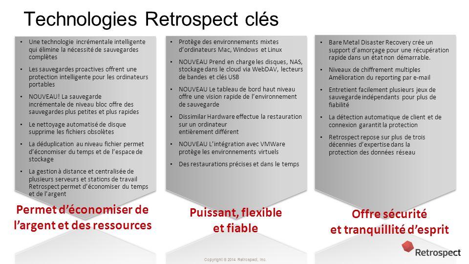 Technologies Retrospect clés