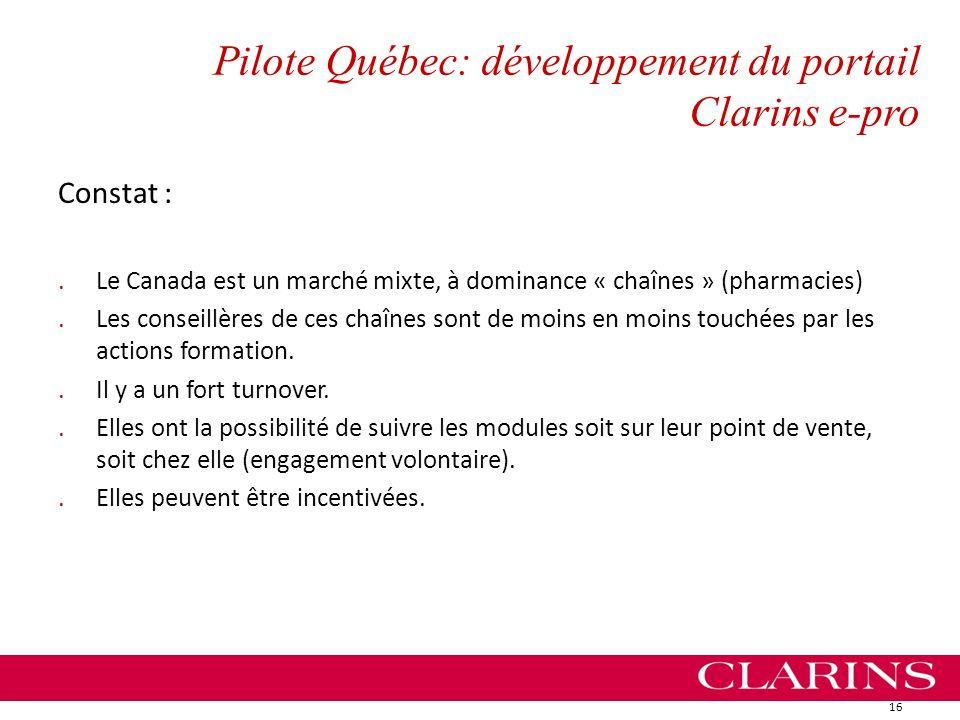 Pilote Québec: développement du portail Clarins e-pro