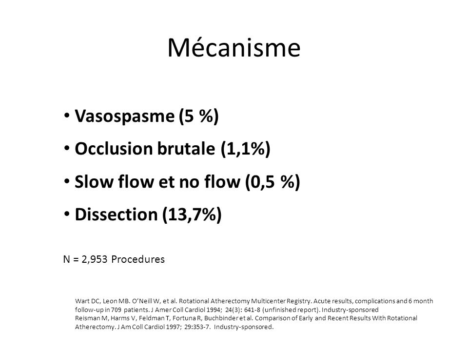 Mécanisme Vasospasme (5 %) Occlusion brutale (1,1%)