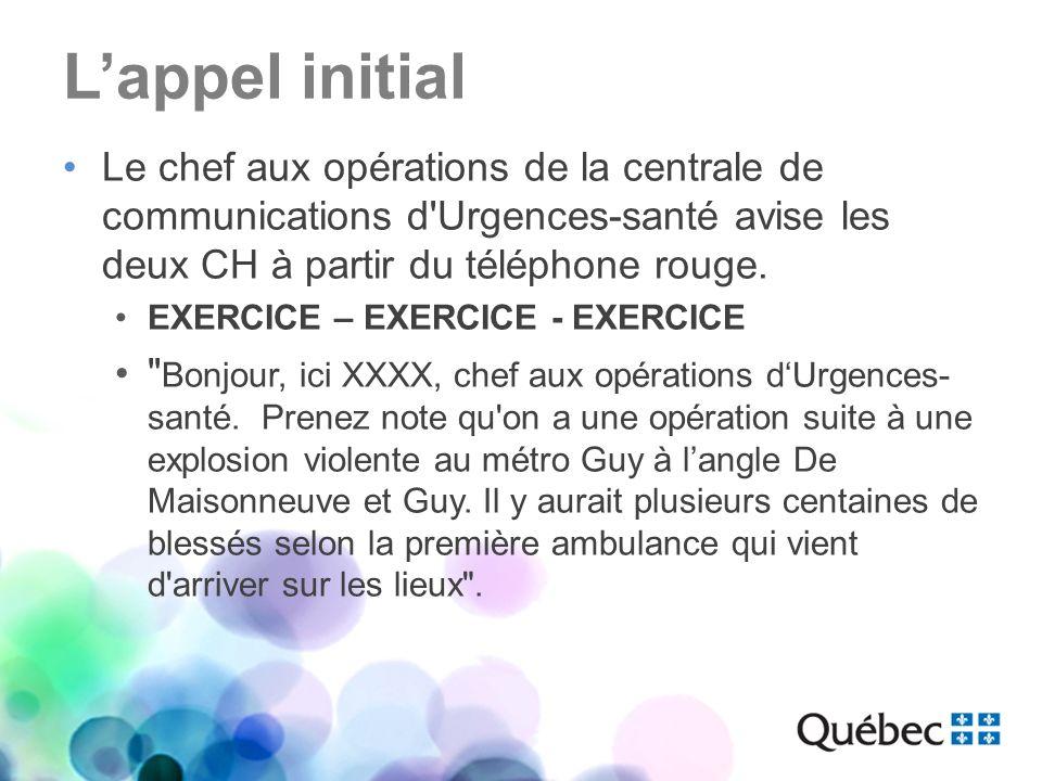 L'appel initial Le chef aux opérations de la centrale de communications d Urgences-santé avise les deux CH à partir du téléphone rouge.