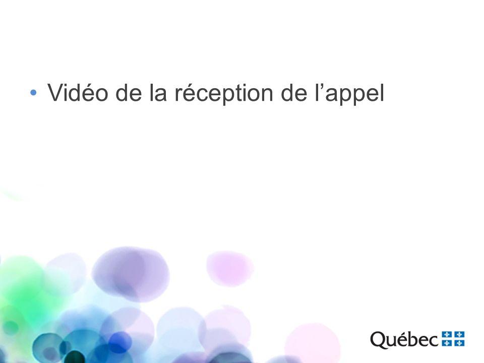 Vidéo de la réception de l'appel