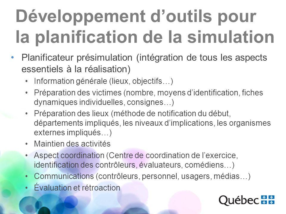 Développement d'outils pour la planification de la simulation