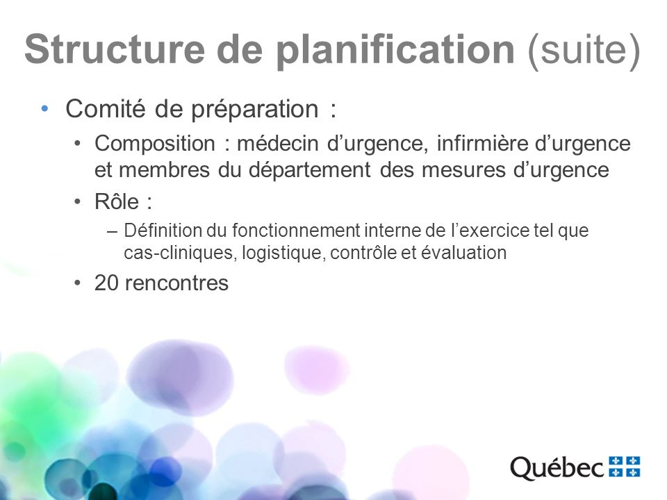 Structure de planification (suite)