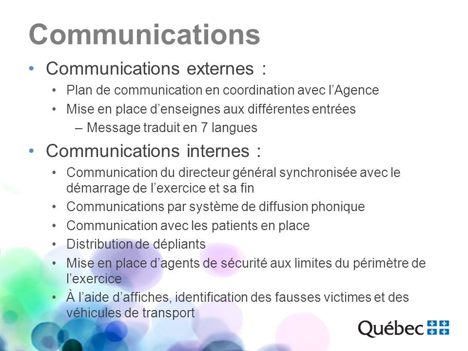 Communications Communications externes : Communications internes :