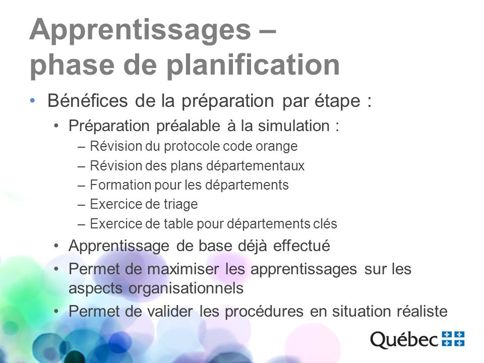 Apprentissages – phase de planification