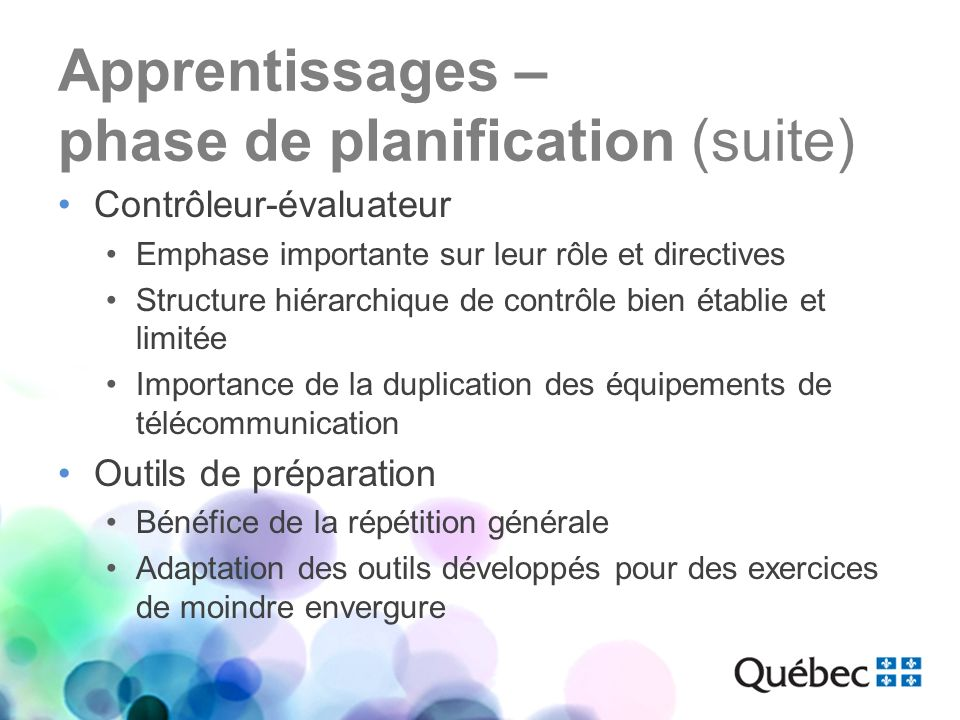 Apprentissages – phase de planification (suite)