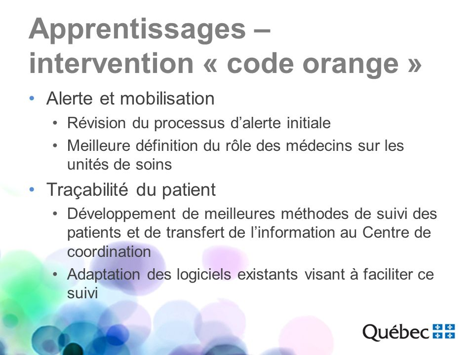 Apprentissages – intervention « code orange »