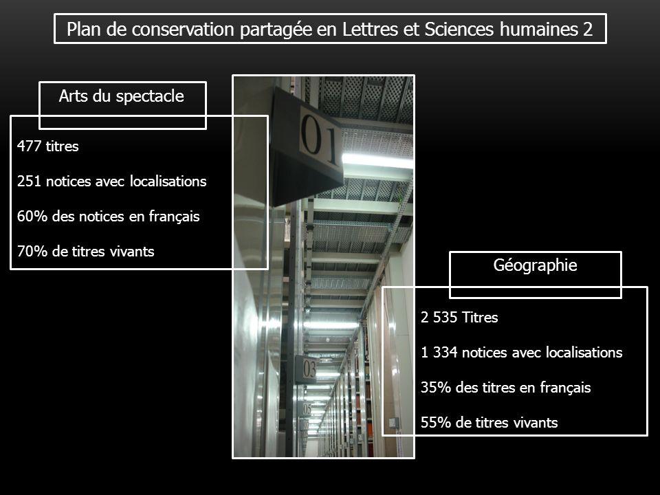 Plan de conservation partagée en Lettres et Sciences humaines 2