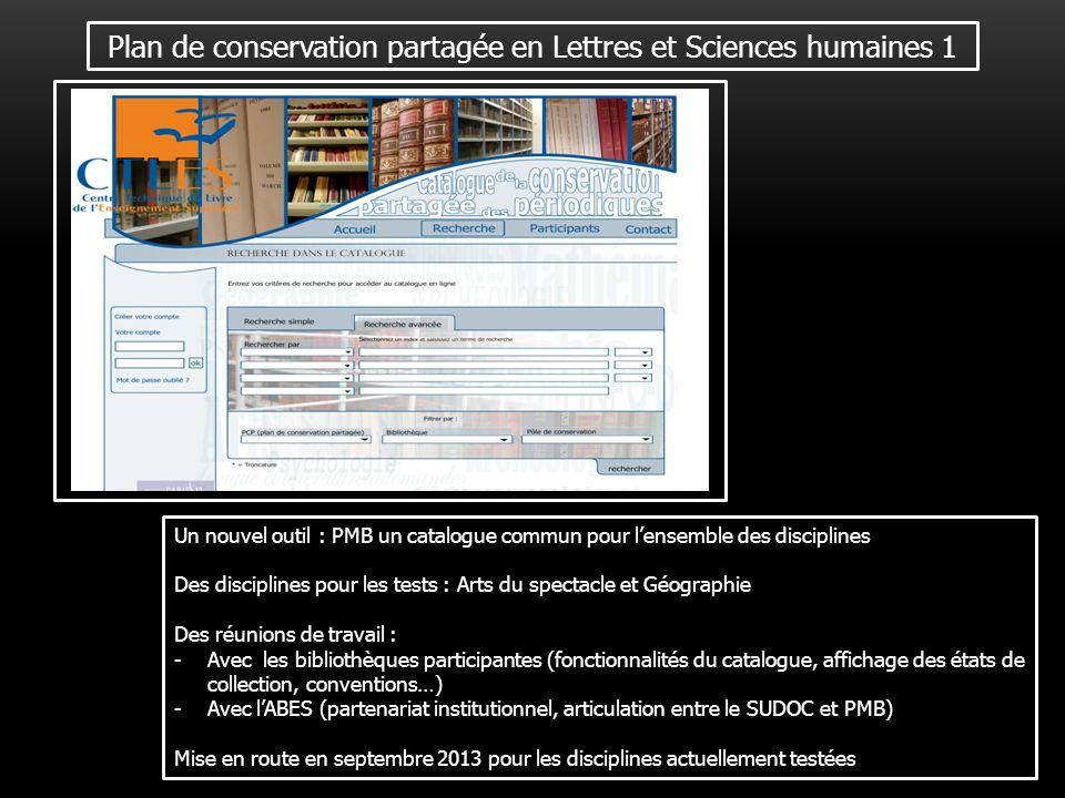 Plan de conservation partagée en Lettres et Sciences humaines 1