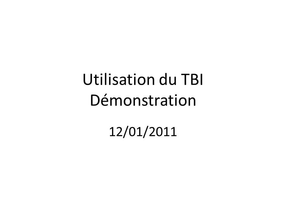 Utilisation du TBI Démonstration