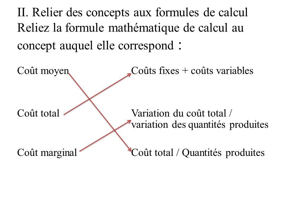 II. Relier des concepts aux formules de calcul Reliez la formule mathématique de calcul au concept auquel elle correspond :