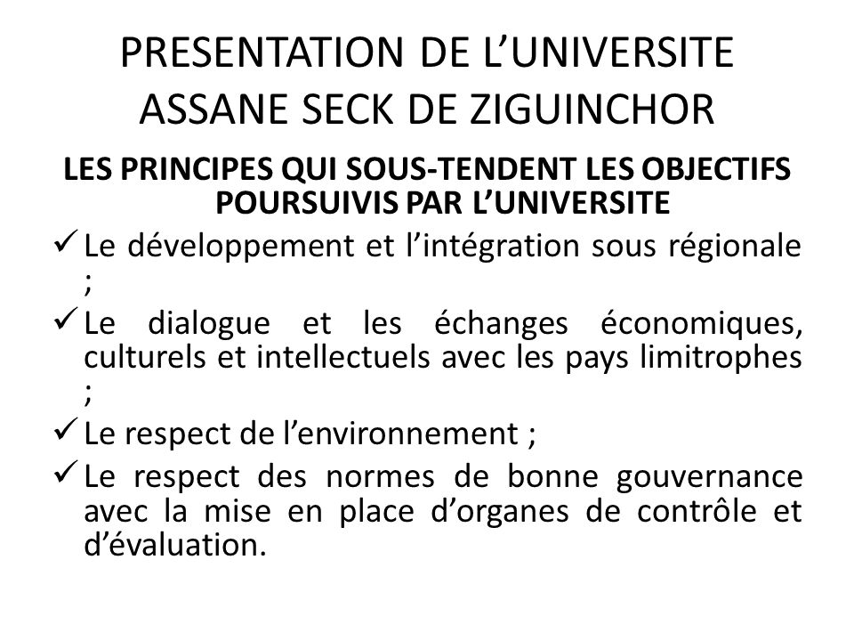 PRESENTATION DE L'UNIVERSITE ASSANE SECK DE ZIGUINCHOR