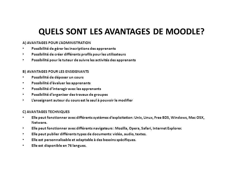 QUELS SONT LES AVANTAGES DE MOODLE