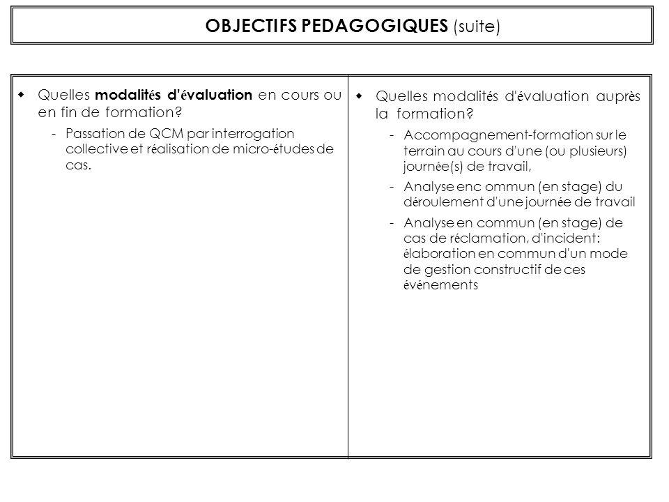 OBJECTIFS PEDAGOGIQUES (suite)