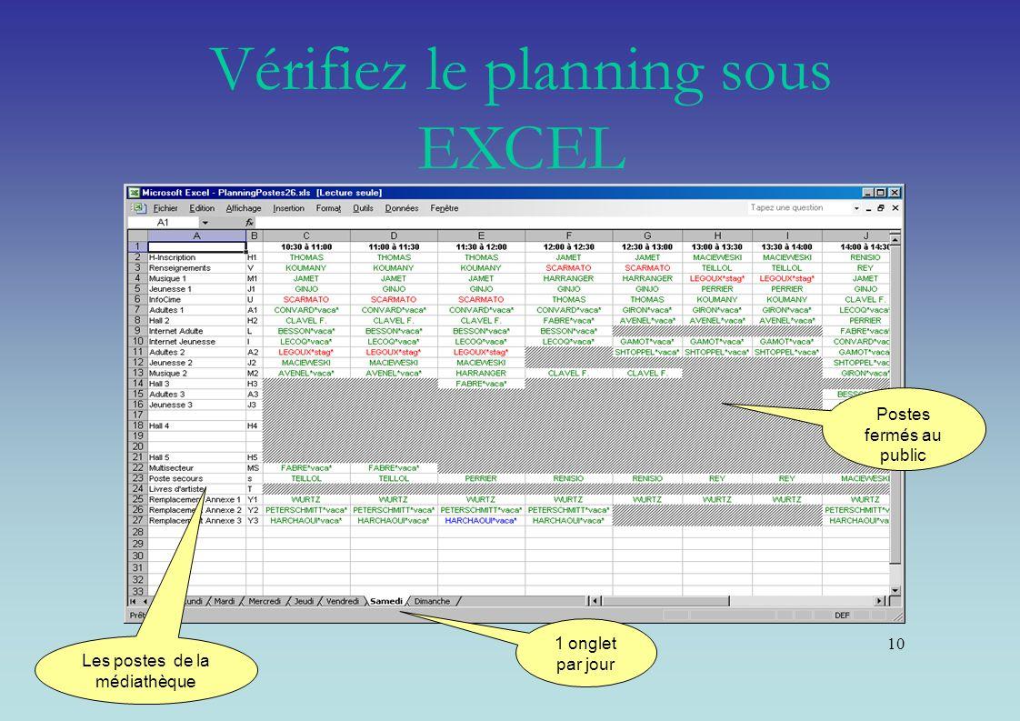 Vérifiez le planning sous EXCEL
