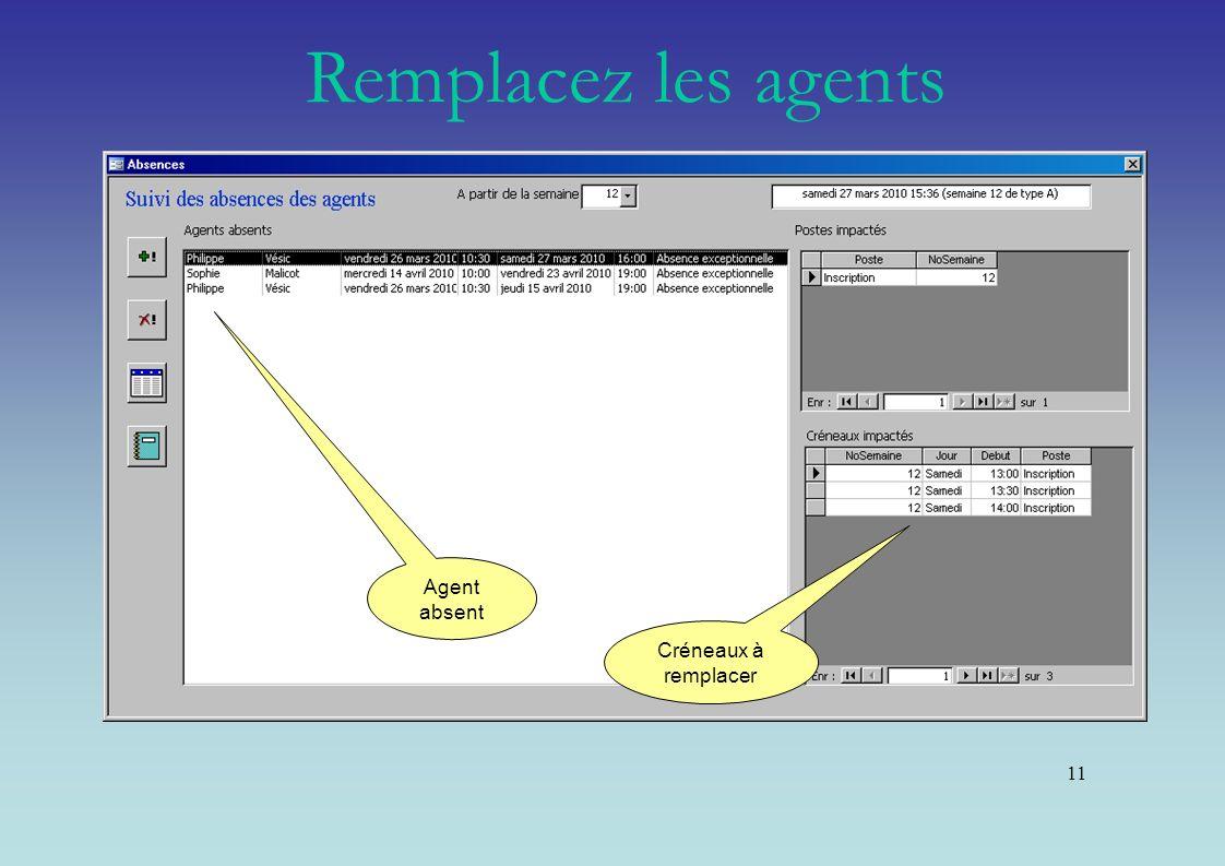 Remplacez les agents Agent absent Créneaux à remplacer 11