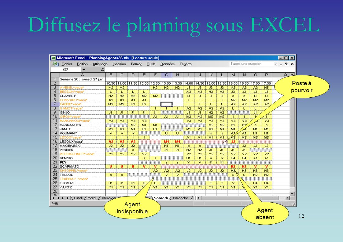 Diffusez le planning sous EXCEL
