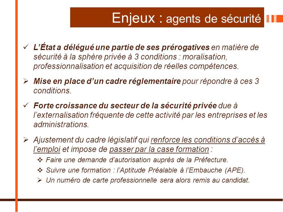 Enjeux : agents de sécurité
